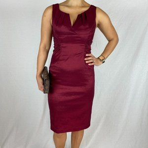 Andre Oliver Maroon Red Satin Sheath Dress